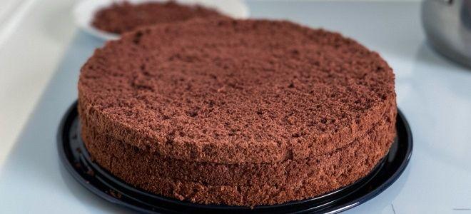 шоколадный бисквит на кефире для торта