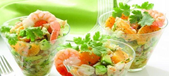 салат коктейль с креветками и авокадо