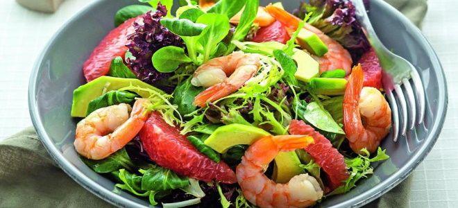 салат с креветками авокадо и грейпфрутом рецепт