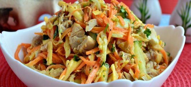 салат вкусный с корейской морковкой и курицей