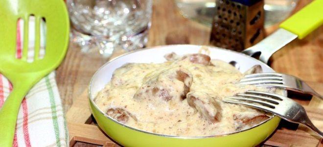 куриная печень в сырно сливочном соусе