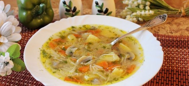 куриный суп с вермишелью и грибами