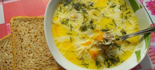 куриный суп с вермишелью с сыром