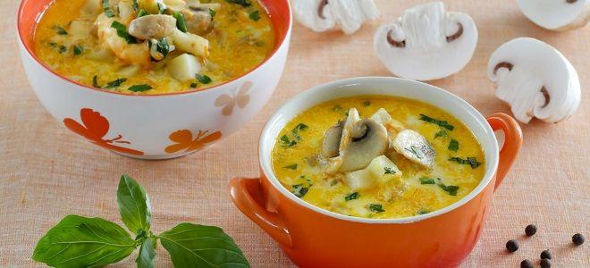 сырный суп с курицей и шампиньонами