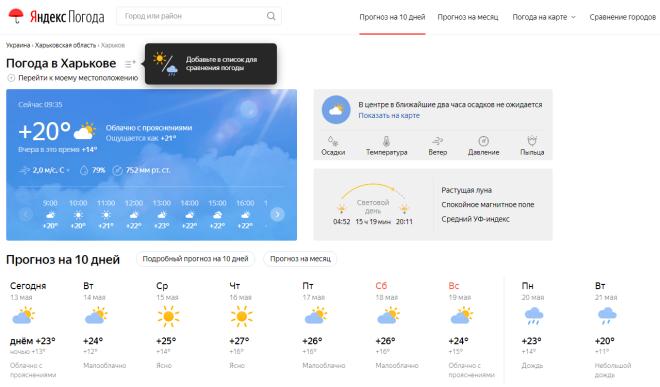 сервис Яндекс Погода