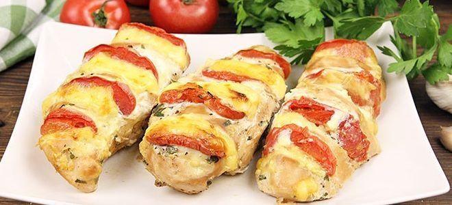 куриная грудка запеченная-с помидорами