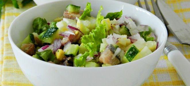рыбный салат с копченой рыбой