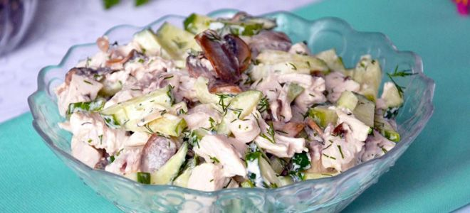салат с грибами с курицей с сыром
