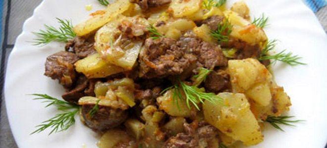 как вкусно приготовить куриную печень с картошкой
