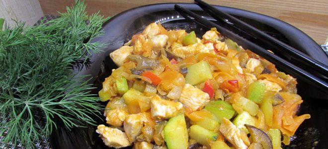 овощное рагу с кабачками и курицей