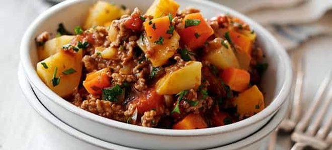 овощное рагу с кабачками и фаршем