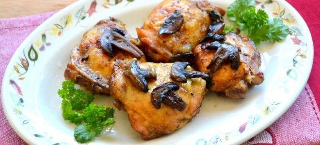 куриное мясо с грибами в духовке