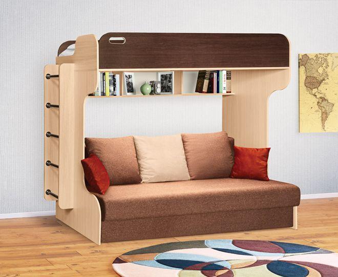 Кровать чердак с диваном внизу для подростка