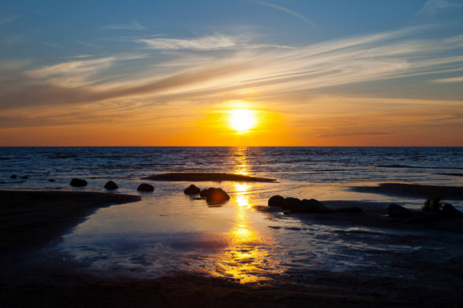 Закат на Чудском озере