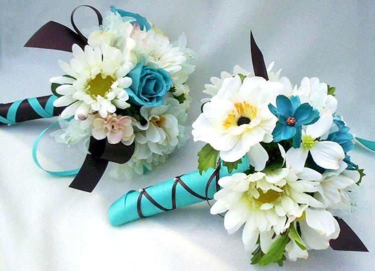 Свадебный букет с бирюзовым цветом фото