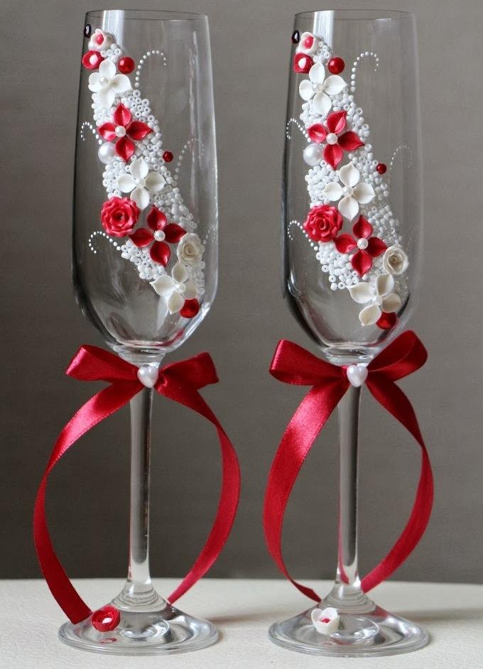 Украшение свадебного бокалов своими руками