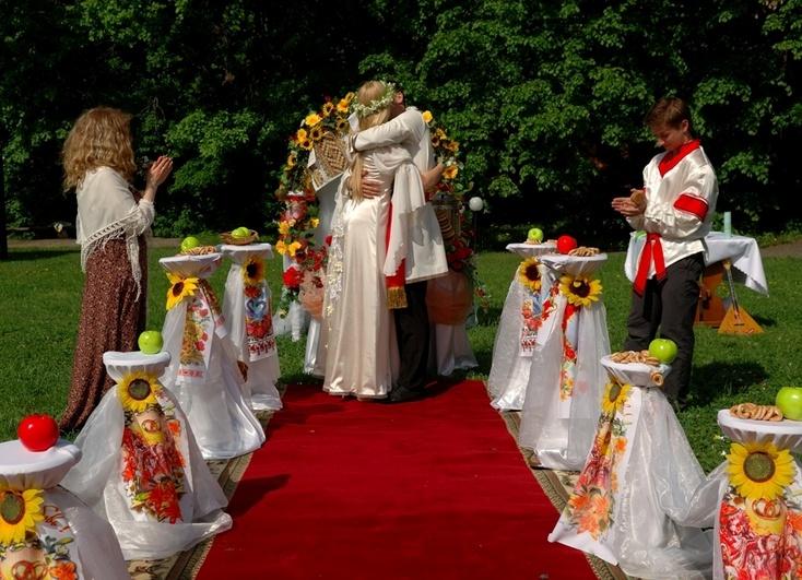 Оформление свадьбы в русском народном стиле фото