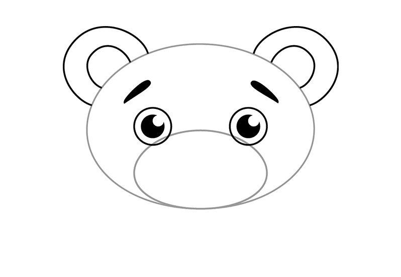 Мордочка мишки рисунок