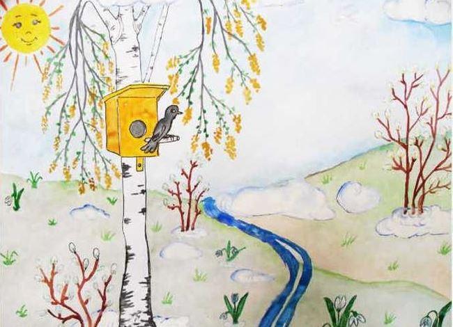 весне красивые о детские рисунки