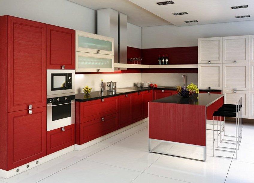 кухня фото красная