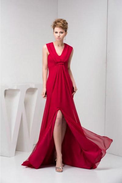 74ec54d0565 Красное платье в пол 1