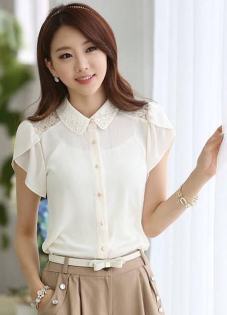 рукавом с коротким фото блузок