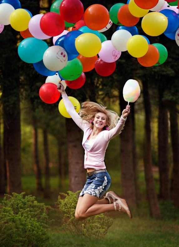 Идея для фото с воздушными шарами