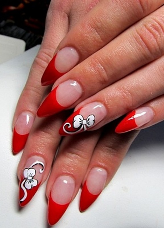 фото острых ногтей с рисунками френч новинки