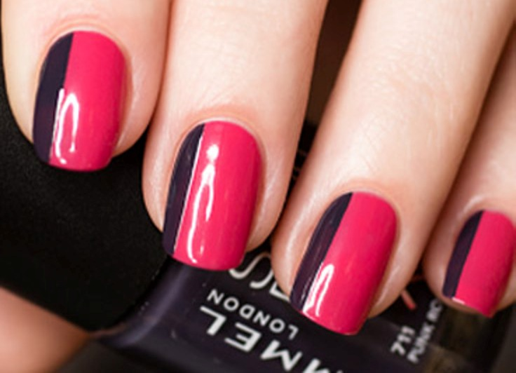 Как накрасить ногти 3 цветами 32
