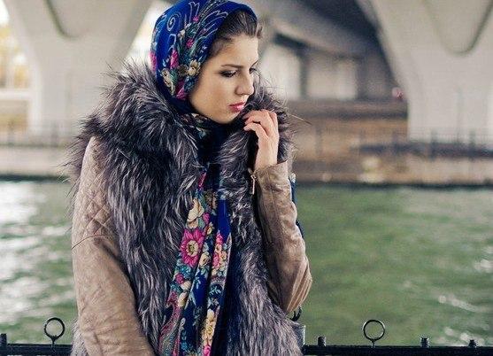 способы ношения павлопосадских платков на голове