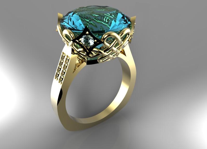 Кольцо с большим камнем картинка