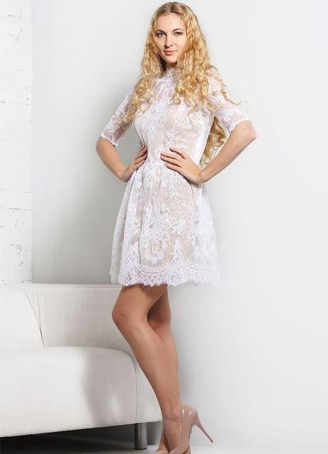 c3ce162018fa4b5 ... короткое кружевное свадебное платье 3