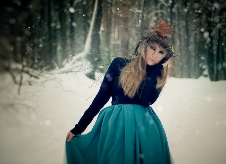 Идея образа для фотосессии в лесу зимой