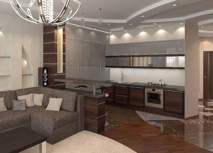 дизайн зал вместе с кухней фото