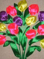Вышивка лентами - тюльпаны