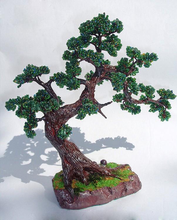 Бонсай дерево Инь Ян из бисера пошагово