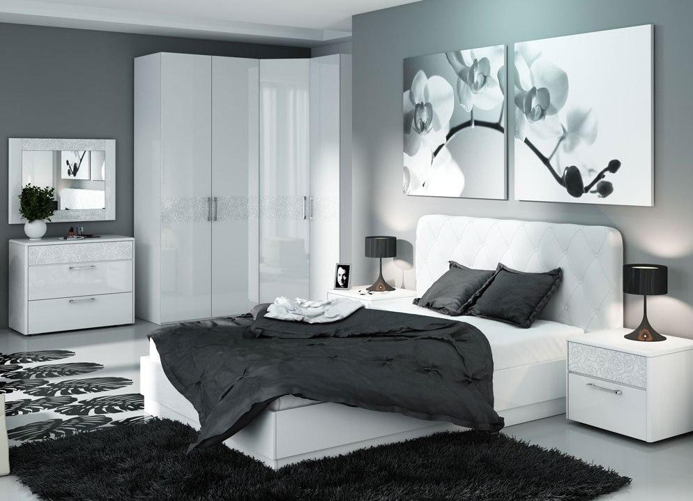мебель для спальни белый глянец