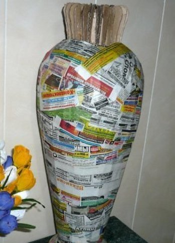 папье руками маше своими напольную вазу