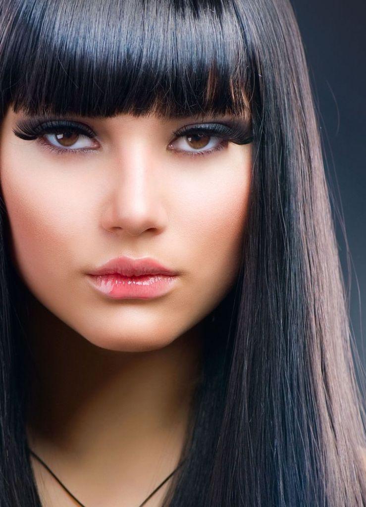 мелирование на черные волосы фото с челкой