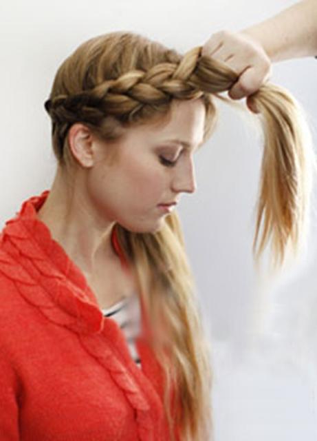 Коса вокруг головы как плести фото схема