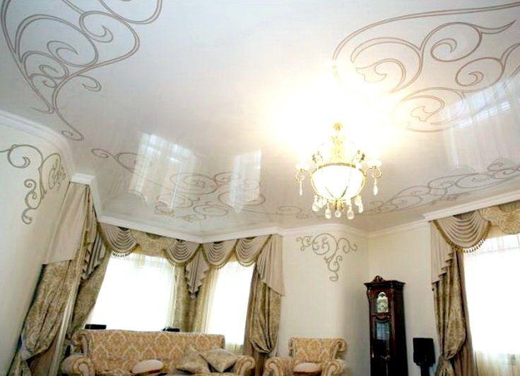 натяжные потолки фото для зала с рисунком