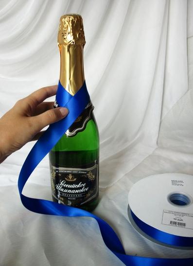 Свадебное шампанское своими руками лентами 33