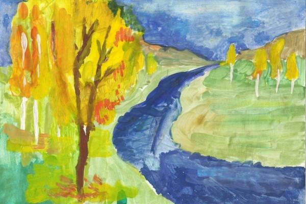 осенний пейзаж рисунки картинки