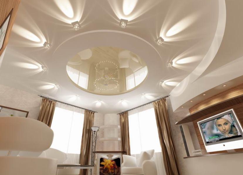 Потолки из гипсокартона в зале: инструкция по монтажу