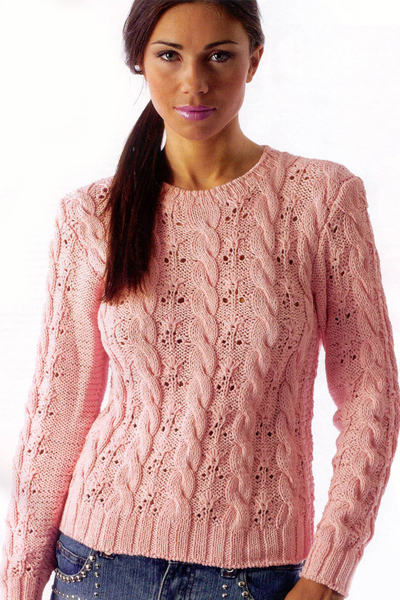 Пуловер с косами