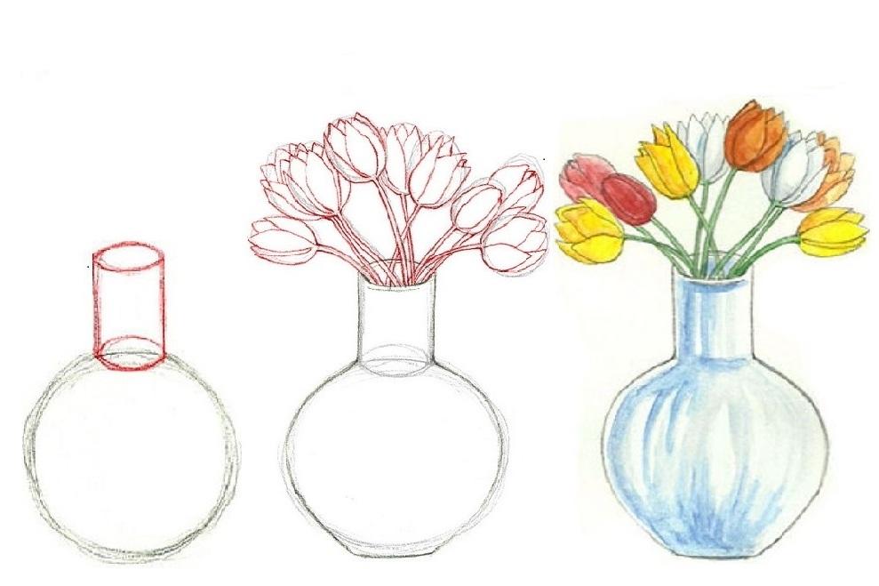 Видео, картинки цветов в вазе для срисовки цветные