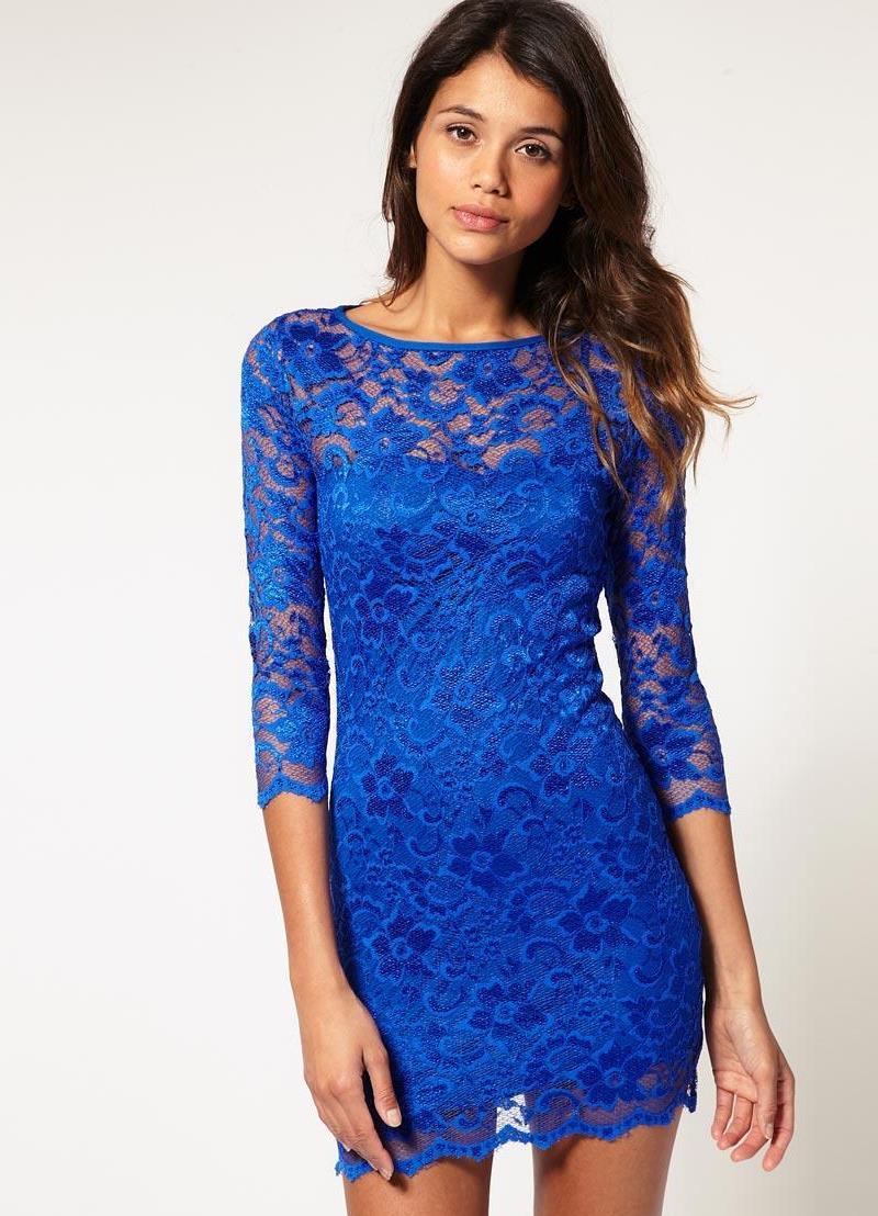 e13039b4290 синее платье с кружевом1 ...
