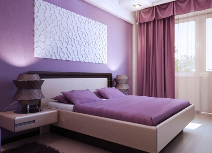 Спальня в фиолетовом цвете дизайн фото