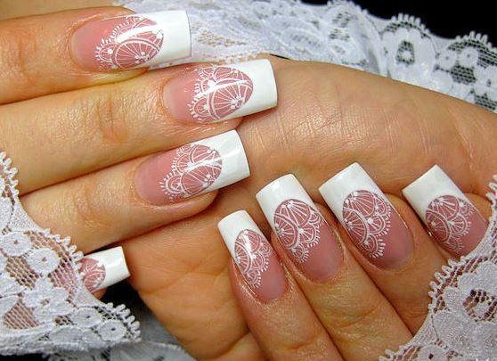 свадебный маникюр на нарощенных ногтях фото