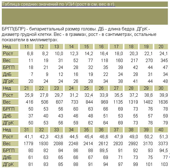 Размеры плода по УЗИ